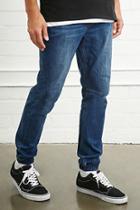 21 Men Men's  Cuffed Slim-fit Jeans