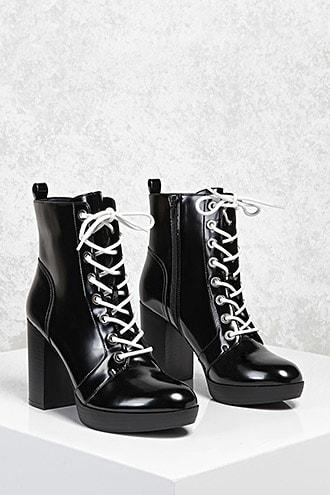 Forever21 Faux Leather Stacked Heel Boots