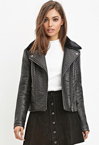 Forever21 Women's  Faux Leather Moto Jacket (black)