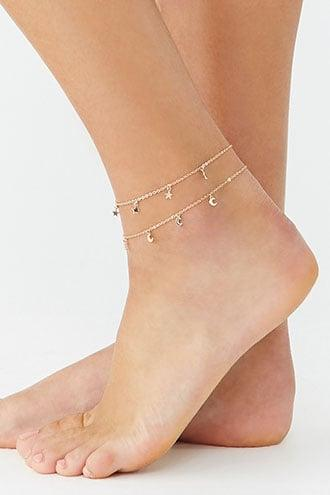 Forever21 Moon & Star Charm Anklet Set