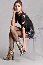 Forever21 Metallic Glitter Ankle Boots