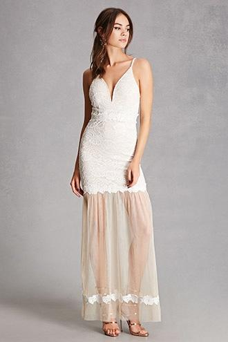 Forever21 Lace & Tulle Hem Maxi Dress