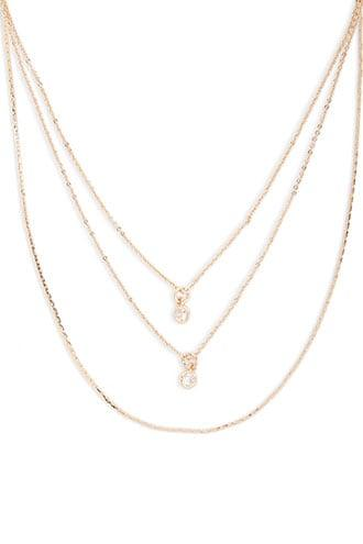 Forever21 Cz Layered Chain Necklace Set
