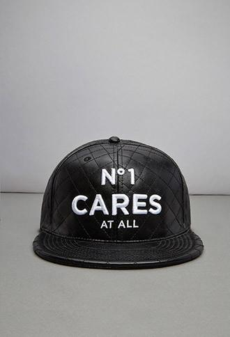 21 Men Reason Na 1 Cares Quilted Faux Leather Baseball Cap
