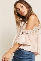 Forever21 Crochet Lace Open-shoulder Top