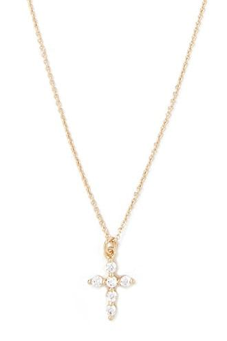 Forever21 Cubic Zirconia Cross Necklace