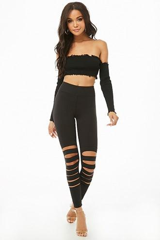 Forever21 Stretch-knit Cutout Leggings