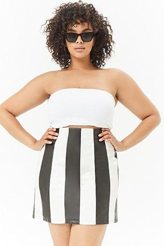 Forever21 Plus Size Faux Leather Striped Mini Skirt