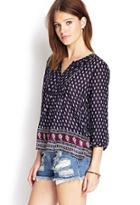 Forever21 Bordered Paisley Peasant Top
