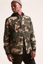 Forever21 Hooded Camo Cargo Shirt