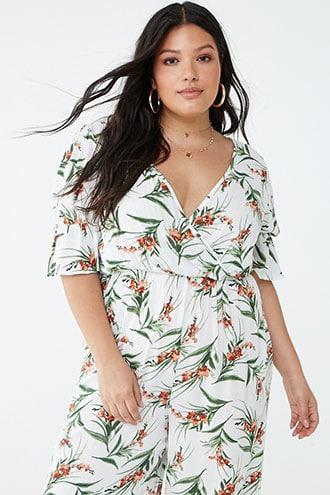 Forever21 Plus Size Surplice Floral Jumpsuit