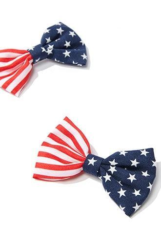 Forever21 American Flag Print Hair Clips Set