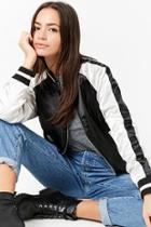 Forever21 Padded Colorblock Satin Bomber Jacket