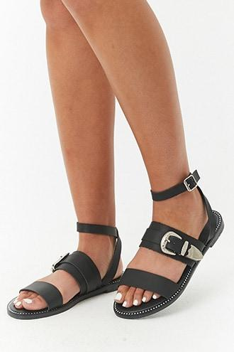 Forever21 Faux Leather Rhinestone Sandals