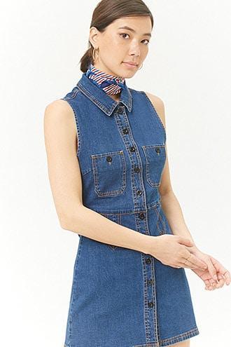 Forever21 Denim Button Dress