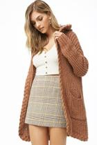 Forever21 Hooded Ribbed Knit Cardigan