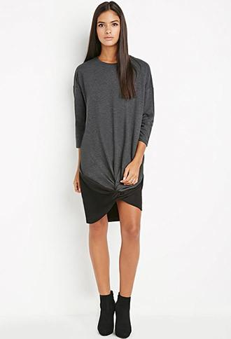 Love21 Twisted-front Sweatshirt Dress