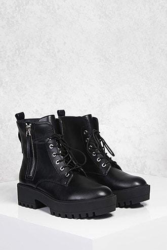 Forever21 Zip-up Lug Sole Boots