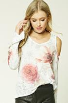 Forever21 Floral Print Open-knit Top