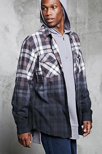 Forever21 Ombre-dye Flannel Shirt