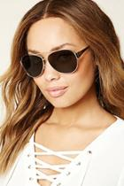 Forever21 Gold & Olive Brow Bar Aviator Sunglasses