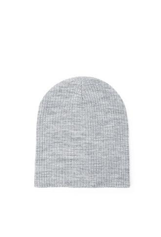 Forever21 Heathered Knit Beanie (grey/cream)