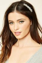 Forever21 Silver Floral Rhinestone Hair Comb