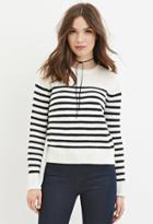 Forever21 Women's  Cream & Navy Classic Striped Sweater