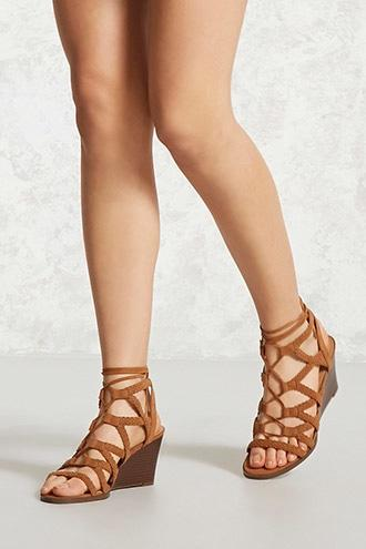 Forever21 Faux Suede Braided Wedges