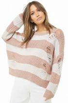 Forever21 Distressed Striped Knit Sweater