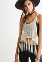 Forever21 Women's  Fringed Open-knit Crop Top