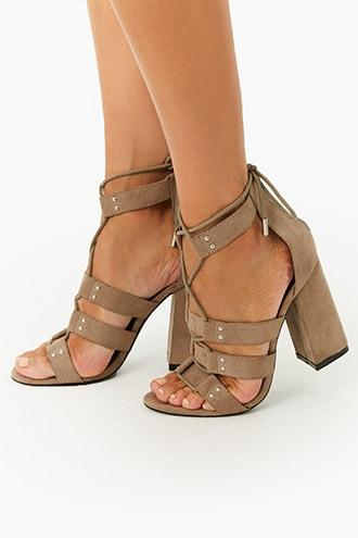 Forever21 Faux Suede Strappy Lace-up Sandals