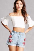 Forever21 Floral Applique Denim Shorts
