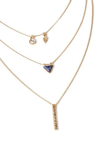 Forever21 Layered Mixed Charm Necklace Gold/blue One Size