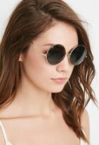 Forever21 Round Frame Sunglasses (gold/olive)