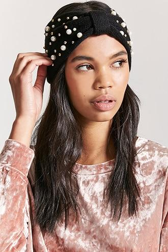 Forever21 Gathered-front Faux Pearl Stud Headwrap