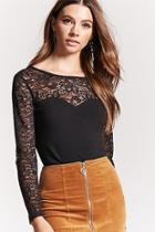 Forever21 Crochet Lace-yoke Top