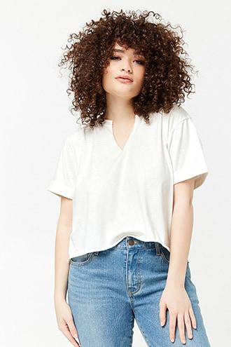 Forever21 Plus Size Cuffed Split-neck Top