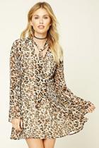 Love21 Women's  Contemporary Leopard Mini Dress