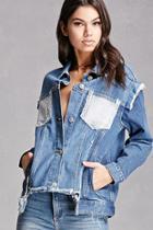 Forever21 Colorblock Pocket Denim Jacket