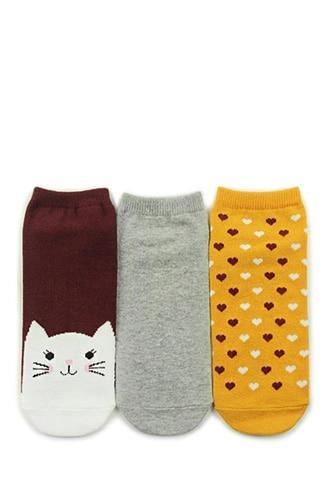 Forever21 Cat Graphic Ankle Socks- 3 Pack