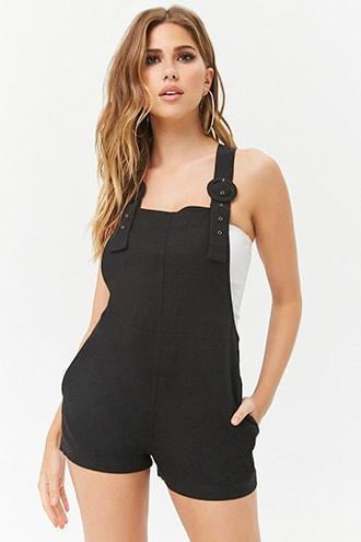 Forever21 Linen-blend Overall Shorts