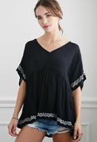 Forever21 Embroidered Babydoll Top