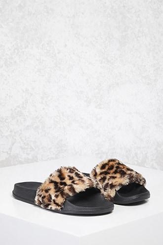 Forever21 Faux Fur Leopard Slides