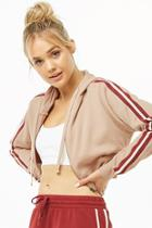 Forever21 Active Striped-trim Zip-up Hoodie