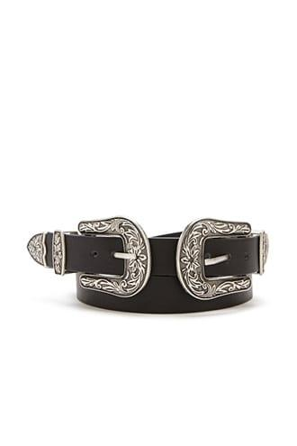 Forever21 Faux Leather Double Buckle Hip Belt