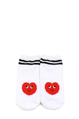 Forever21 Fuzzy Heart Graphic Ankle Socks