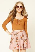Forever21 Women's  Rose & Camel Floral Print Mini Skirt