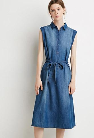 Love21 Belted Chambray Popover Dress