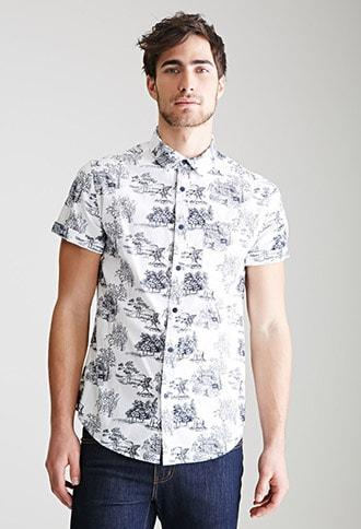 Forever21 Toile Print Button-down Shirt